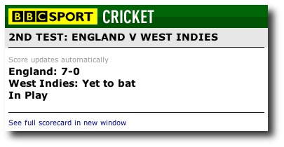 BBC Cricket Live Scores Widget
